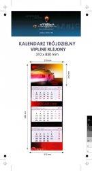 Kalendarz trójdzielny VIP LINE klejony - główka - karton Alaska 250 g, foliowana błysk, całość 310 x 830 mm, druk pełnokolorowy, 3 oddzielne kalendaria 290 x 145 mm, okienko - 200 sztuk