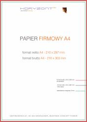 papier firmowy A4, druk pełnokolorowy obustronny 4+4, na papierze offset / preprint 90 g - 1000 sztuk
