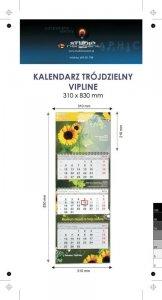 Kalendarz trójdzielny spiralowany VIP LINE z wypukłą główką, bez koperty - druk jednostronny kolorowy (4+0) Karton Alaska 250 g, Folia błysk jednostronnie, 310 x 830 mm, Spiralowany, 3 bloki kalendarium, 290 x 145 mm, okienko - 600 szt.