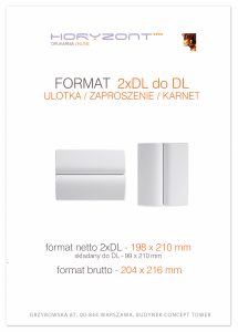 zaproszenie - karta 2xDL, składana do DL, druk dwustronny, kreda 250-300 g, bez folii 500 sztuk