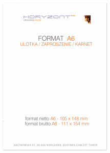 ulotka A6, druk pełnokolorowy obustronny 4+4, na papierze kredowym, 300 g, 250 sztuk