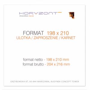 ulotka 198 x 210 mm, druk pełnokolorowy obustronny 4+4, na papierze kredowym, 170 g, 10 000 sztuk