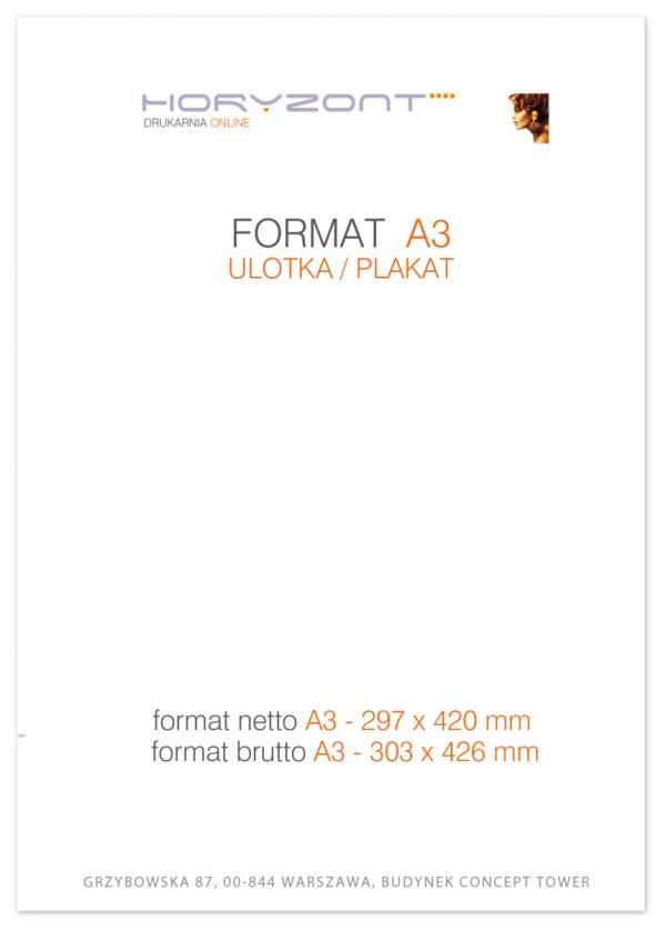 ulotka A3, druk pełnokolorowy obustronny 4+4, na papierze kredowym, 250 g, 10000 sztuk