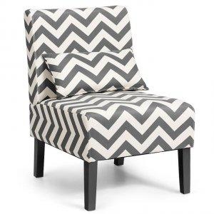 Fotel tapicerowany do salonu szaro-biały
