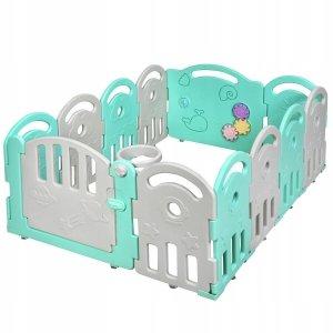 Składany kojec dla dzieci z bramką bezpieczeństwa - zielony