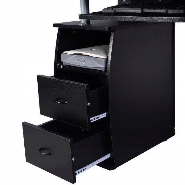 Biurko komputerowe z nadstawką