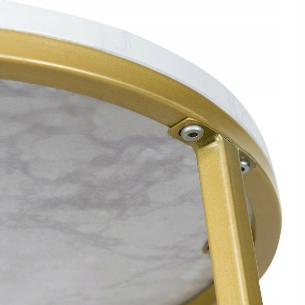 Stolik boczny okrągły w kolorze marmuru