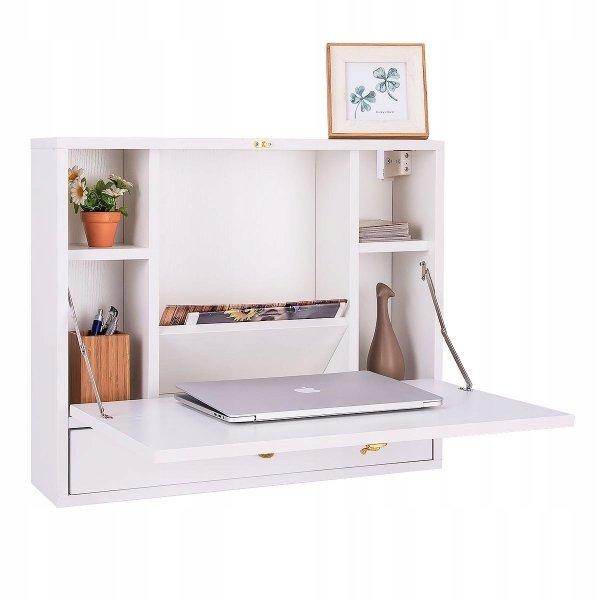 Wiszące biurko ścienne składane - białe