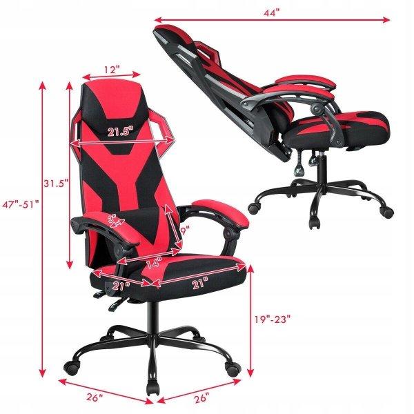 Kubełkowy fotel gamingowy z masażerem