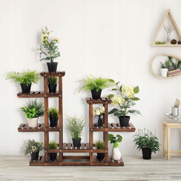 drewniany regał na rośliny kwietnik z półkami