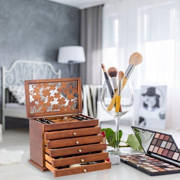 Szkatułka na biżuterię kuferek z szufladami
