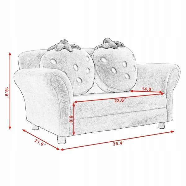 Mini sofa kanapa dla dzieci truskawka