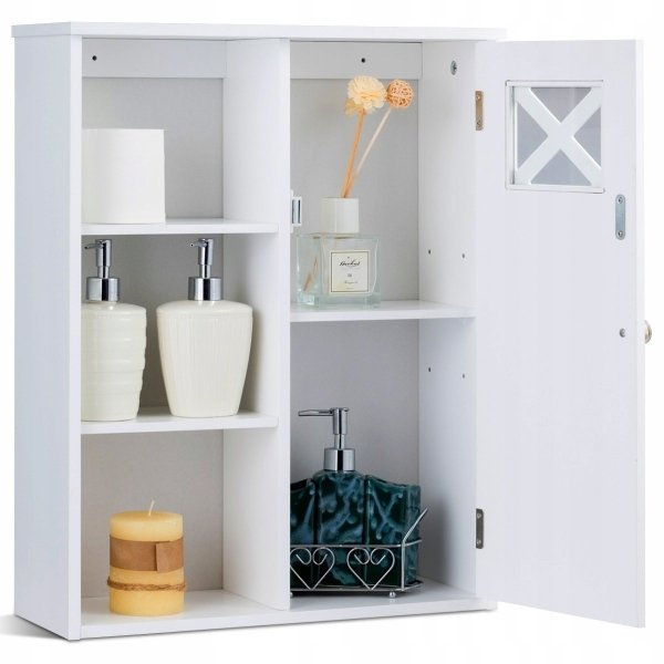 Szafka łazienkowa wisząca z 5 półkami