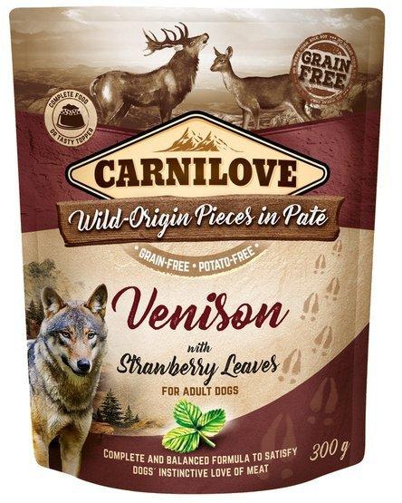 Carnilove Dog Venison & Strawberry Leaves - dziczyzna i liście truskawki saszetka 300g