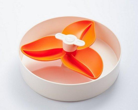 Spin Interaktywna miska Flower/Spin biało-pomarańczowa