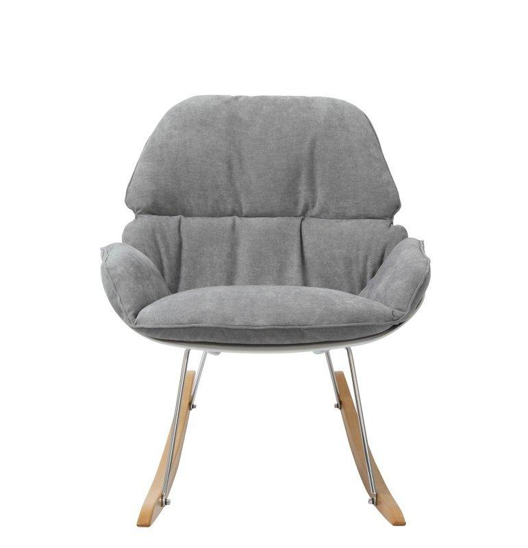 Fotel bujany NINO jasny szary - tkanina, płozy bukowe