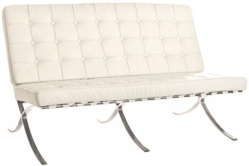 Sofa BARCELON PRESTIGE biała - włoska skóra naturalna, stal polerowana