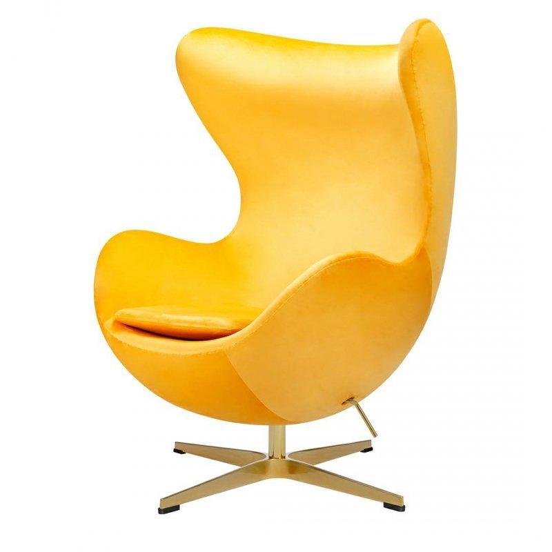 Fotel EGG CLASSIC VELVET GOLD żółty - welur, podstawa złota