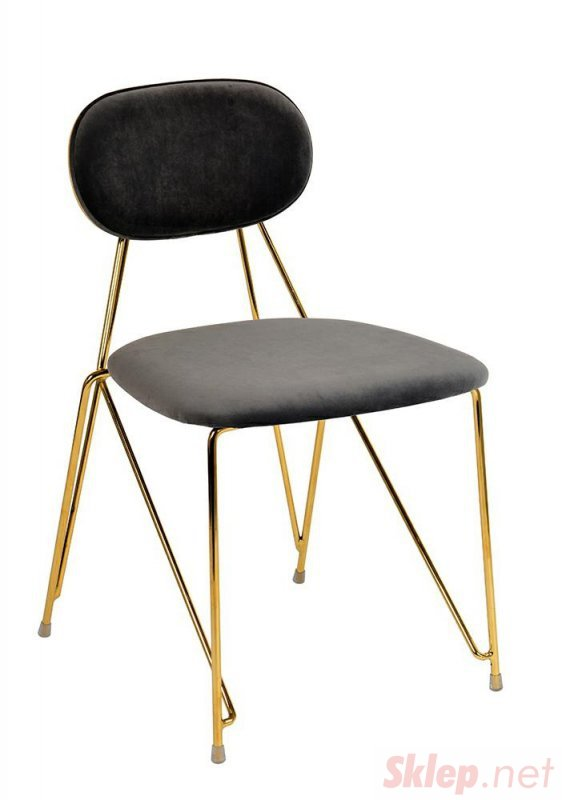 Krzesło MOLY ciemny szary - welur, podstawa złota