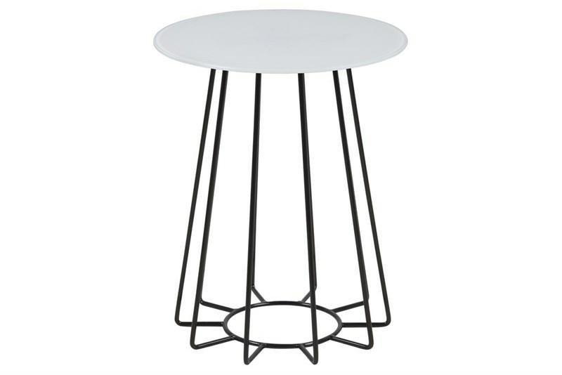 ACTONA stolik kawowy CASIA biały - szkło, czarna podstawa