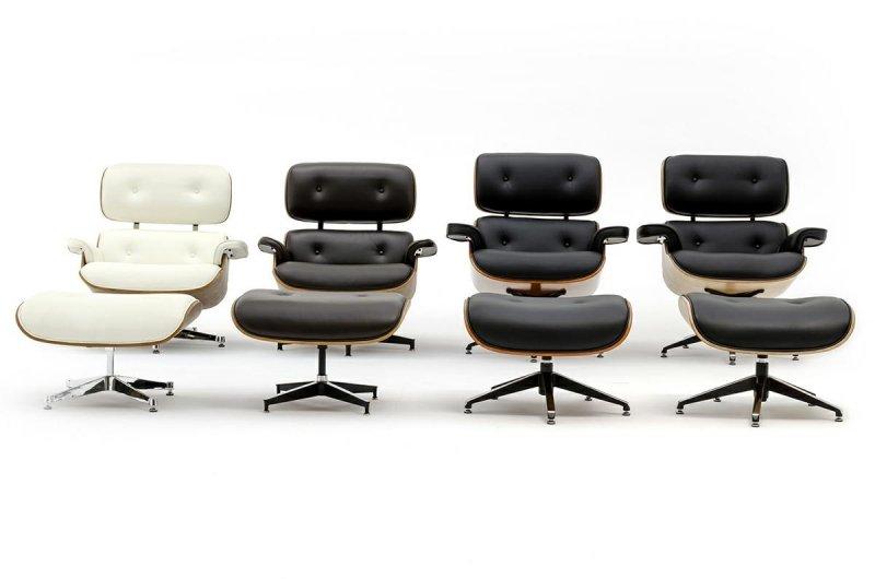 Fotel LOUNGE HM PREMIUM SZEROKI z podnóżkiem brązowy - sklejka orzech, skóra naturalna