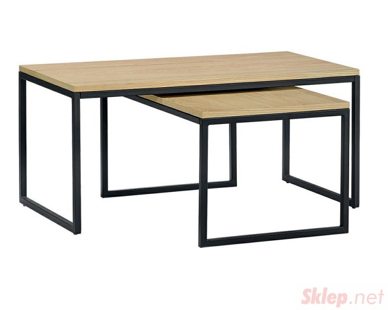Zestaw stolików LOFT MEDIUM dąb - MDF fornirowany, metal