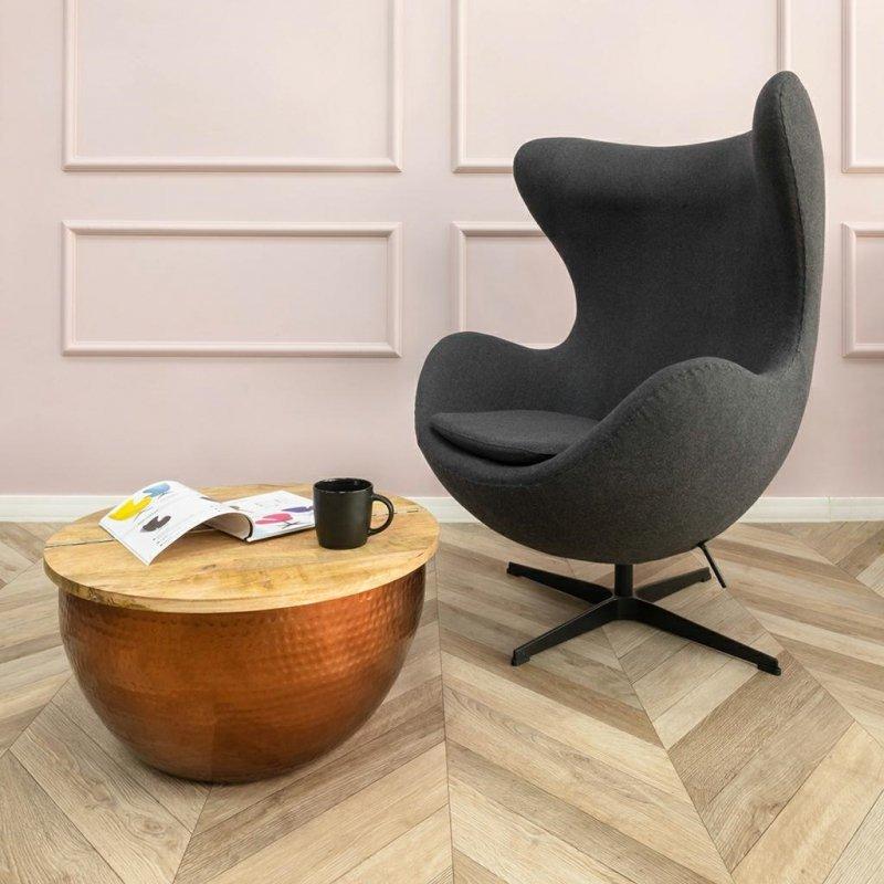 Fotel EGG CLASSIC BLACK czarny.30 - wełna, podstawa czarna