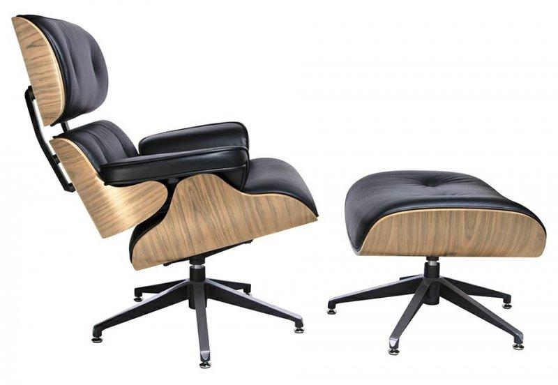 MODESTO fotel LOUNGE z podnóżkiem  czarny - sklejka jesion, skóra ekologiczna