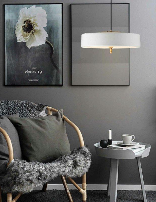 Lampa wisząca ARTE biało-złota - aluminium, metal