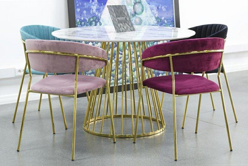 Krzesło MARGO burgund - welur, podstawa złota