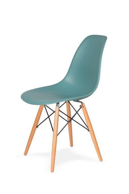 Krzesło DSW WOOD pastelowy turkus.29 - polipropylen, podstawa bukowa