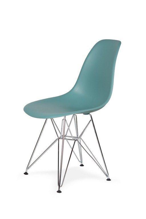 Krzesło DSR SILVER pastelowy turkus.29 - podstawa metalowa chromowana