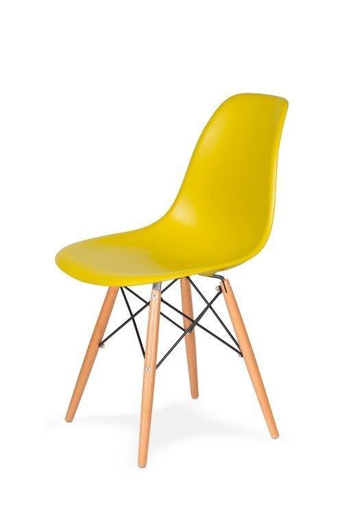 Krzesło DSW WOOD oliwkowy.20 - polipropylen, podstawa bukowa