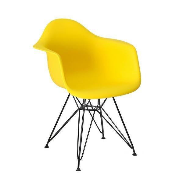 Fotel DAR BLACK słoneczny żółty.09 - polipropylen, podstawa czarna