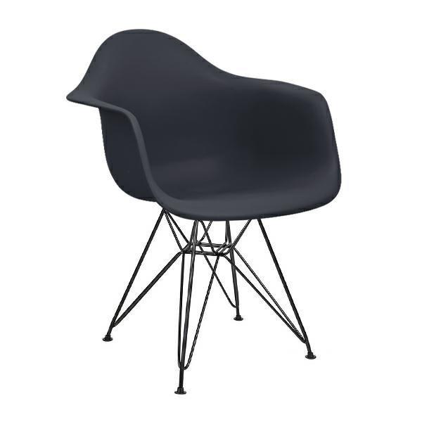 Fotel DAR BLACK antracytowy.39 - polipropylen, podstawa czarna