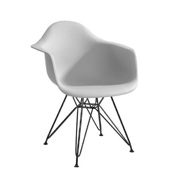 Fotel DAR BLACK jasny szary.05 - polipropylen, podstawa czarna
