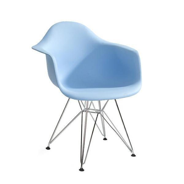 Fotel DAR SILVER jasny niebieski.12 - polipropylen, podstawa chromowana