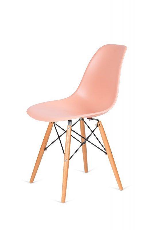Krzesło DSW WOOD łososiowy.35 - polipropylen, podstawa bukowa