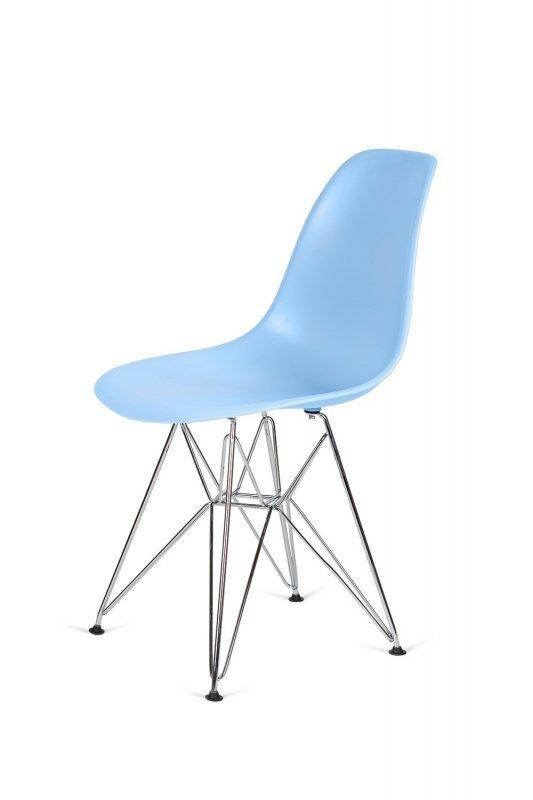 Krzesło DSR SILVER jasny niebieski.12 - podstawa metalowa chromowana