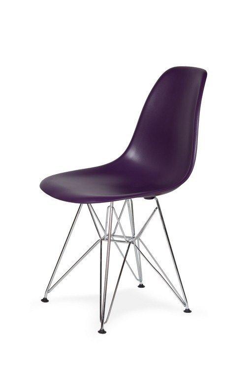 Krzesło DSR SILVER fioletowa purpura.39 - podstawa metalowa chromowana