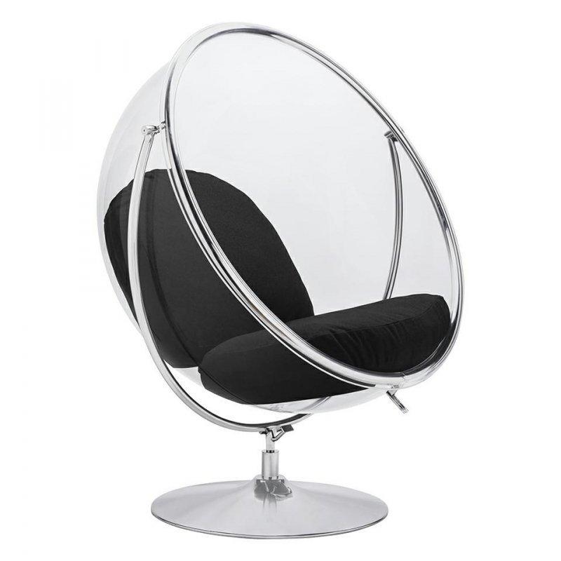 Fotel BUBBLE STAND 2 poduszka czarna - akryl, chrom, wełna