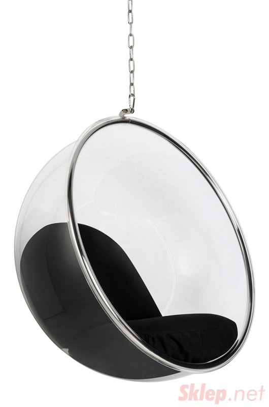 Fotel wiszący BUBBLE poduszka  czarna - korpus akryl, poduszka wełna