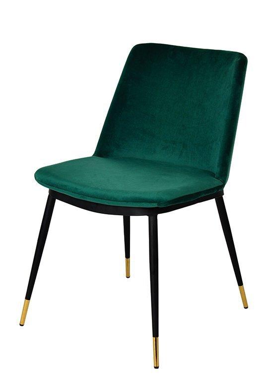 Krzesło DIEGO zielone - welur, podstawa czarno złota