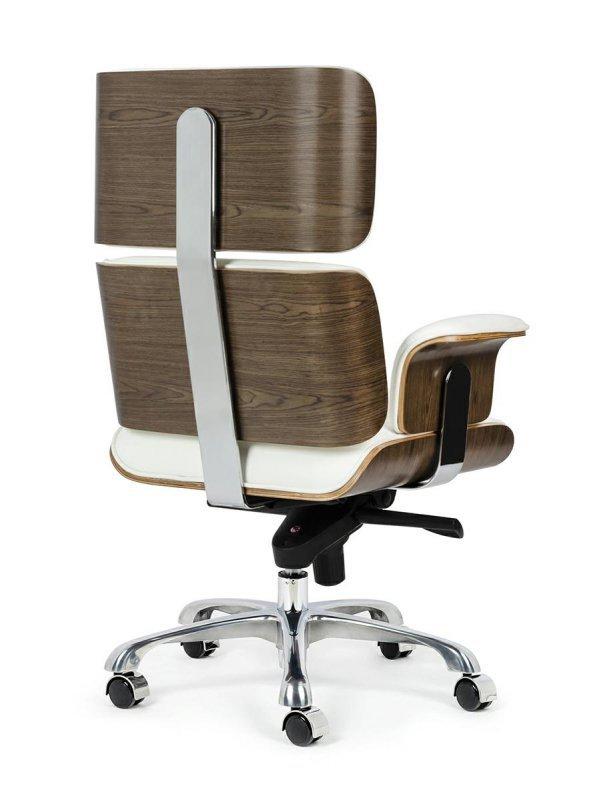 Fotel biurowy LOUNGE BUSINESS biały - sklejka orzech, skóra naturalna, stal polerowana
