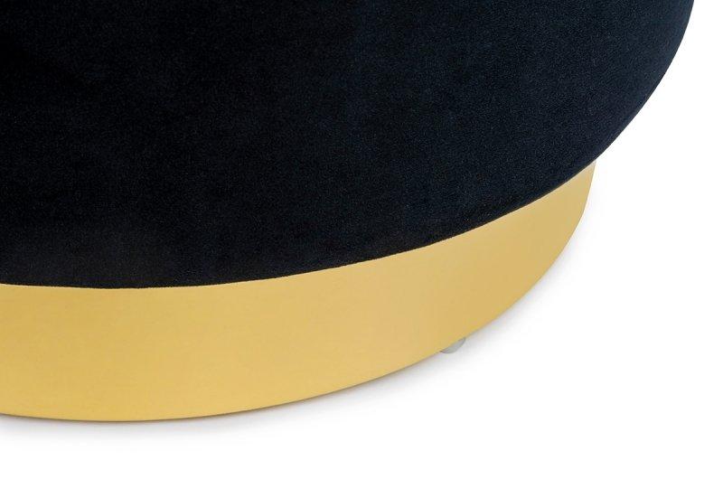 Pufa MARGO czarna - welur, podstawa złota