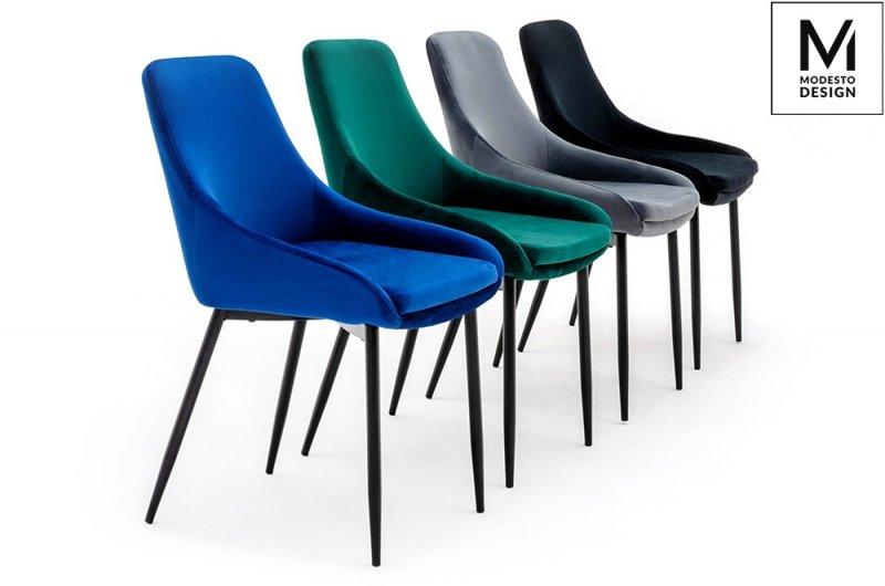 MODESTO krzesło CLOVER ciemny szary - welur, metal