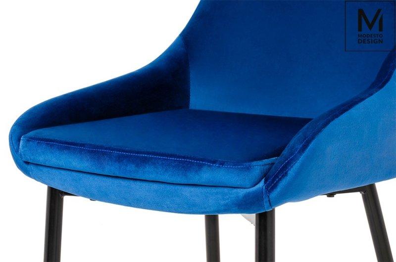 MODESTO krzesło CLOVER ciemny niebieski - welur, metal