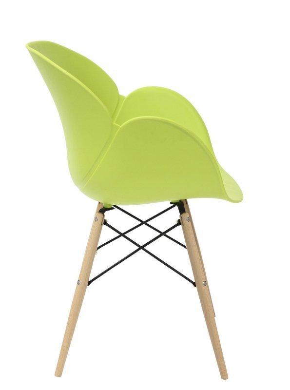 Fotel FLOWER DSW PREMIUM zielony - polipropylen, podstawa bukowa