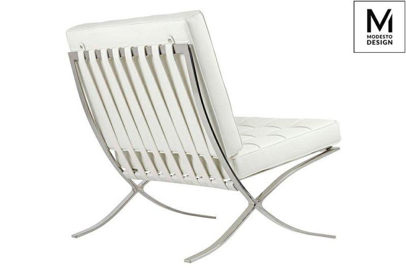 MODESTO fotel BARCELON biały - ekoskóra, stal polerowana