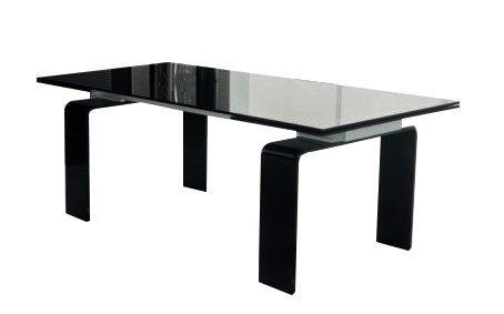 Stół szklany ATLANTIS BLACK 200/300 - rozkładany, szkło czarne